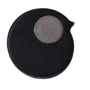 BiRPmagnet i egetræ med sort lakering og øje i sølv